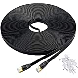 Cat-7 Ethernet Cable 50 ft Black Flat Cable Clips, Shielded RJ45 Connectors, High Speed 10 Gigabit LAN Network Patch Cable, Faster Than Cat6 Cat5e