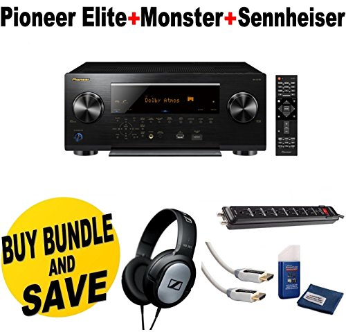 Pioneer-Network-AV-Receiver-Audio-Video-Component-ReceiverBlack-SC-LX701-Sennheiser-HD206-Lightweight-Over-Ear-Binaural-Headphones-Monster-Home-Theater-Accessory-Bundle