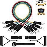 Resistance Band Set, Leekey 11pc Pull Up Assist Bands Workout bands with Carry Bag, Door Anchor, Handles, Ankle Straps for Body Stretching Physical Therapy and Resistance Training