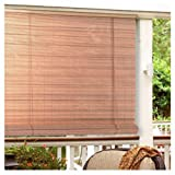 Lewis Hyman 0321246 1/4-Inch Oval Vinyl PVC Rollup Blind, 48-Inch Wide by 72-Inch Long, Woodgrain