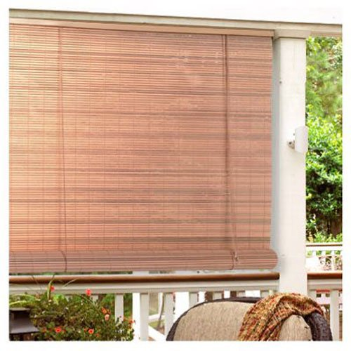Radiance 0321256 Vinyl PVC Roll Up Blind, Woodgrain, 60 Inch Wide x 72 Inch - Exterior Sun Shade