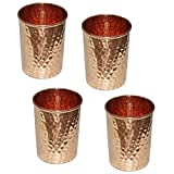 AVS STORE Pure copper hammered Glass for Healing Ayurvedic tableware accessories Set of 4 For Sale
