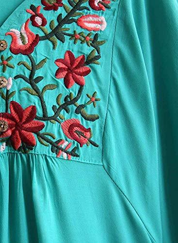 Boho Et BIRAN Haut Chemisiers Femme Cou Broderie Teal Shirt Manches Fleur Ethnique Elgante Vintage Tunique 4 Fashion Dsinvolte 3 V Style Large breal Fleur wwCAqIR
