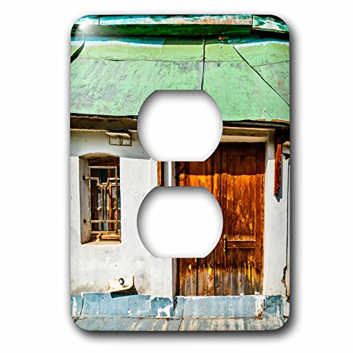 3dRose Alexis Photography - Architecture - Surreal old house, a door without entrance - Light Switch Covers - 2 plug outlet cover (lsp_273696_6) by 3dRose