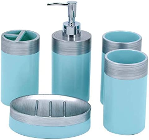 Huifang Bathroom Kit Salle De Bain 5 Pieces Set Bleu Resine Salle