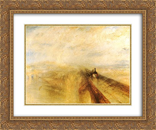 Rain, Steam and Speed The Great Western Railway, Before 1844 2X Matted 15x18 Gold Ornate Framed Art Print by J.M.W. Turner
