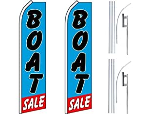 2 Swooper Flutter Flags plus 2 Poles & Ground Spikes BOAT SALE Blue Black Red