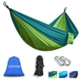 GEEKHOM Hammock for 2 Person,Outdoor Camping Hammocks 270x140 cm 300kg Load Capacity with Tree Straps and Aluminum Carabiners for Garden Travel Backpacking Hiking Beach (Green)
