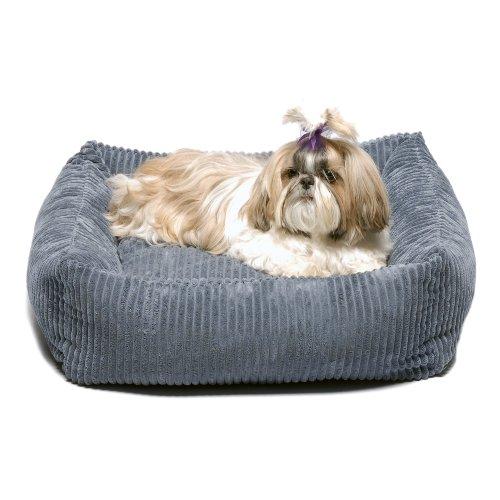 CPC Plush Chenile 24-Inch Square Pet-Bed, Blue, My Pet Supplies
