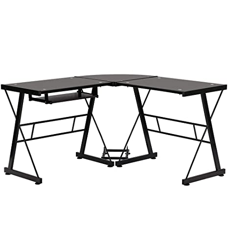buy popular 46e32 48677 Gaming Desk Office Computer Corner L Shaped Desk PC laptop Racing Writing  Study Table Tempered Glass Dual Monitor Wok Station With Keyboard and CPU  ...