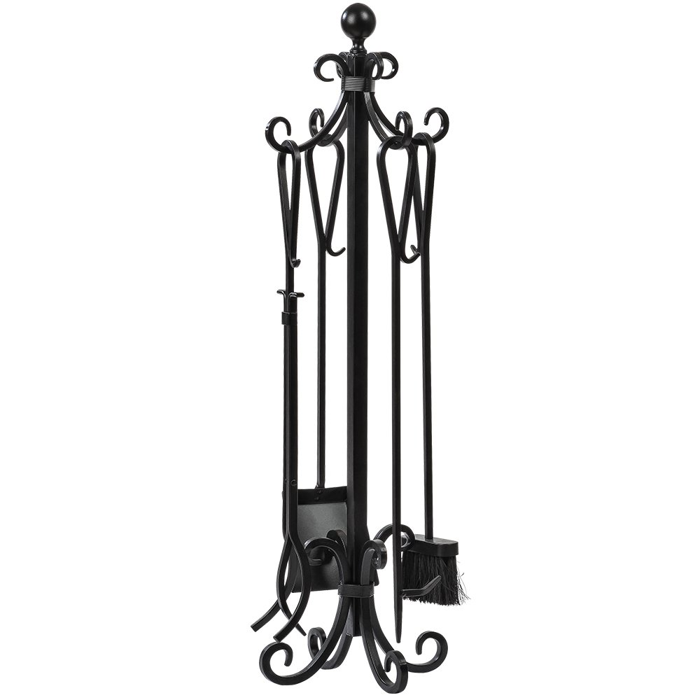 amazon com 5 pieces scroll fireplace tools set black cast iron