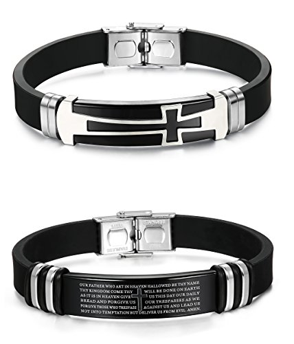 LOYALLOOK 2pcs Black Silicone Sport Wristband Bangle Bracelet Stainless Steel Religious Cross Our Father Prayer Design
