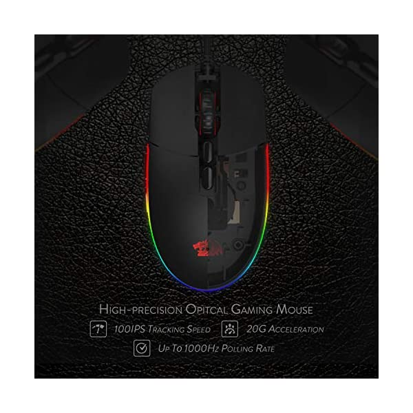 Redragon M719 Invader Wired Optical Gaming Mouse, 7 Programmable Buttons, RGB Backlit, 10,000 DPI, Ergonomic PC Computer…