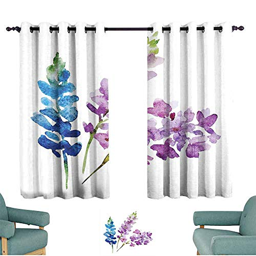 SONGDAYONE Floral Heat Insulation Curtain Branches of Watercolor Flowers in Spring Color Shades Lavender and Violet Bouquet Maintain Good Sleep Multicolor (2 Panels,W96 xL72)