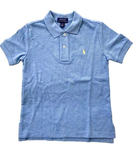 Polo Ralph Lauren Boys Short-Sleeve Solid Polo Shirt (Large / 14-16, Blue Heather/Yellow Pony)