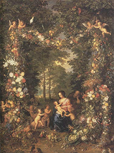 Canvas Print Avont, Pieter Van - The Holy Family in a Wreath of Flowers and Fruit Stretched Canvas 10 x ()