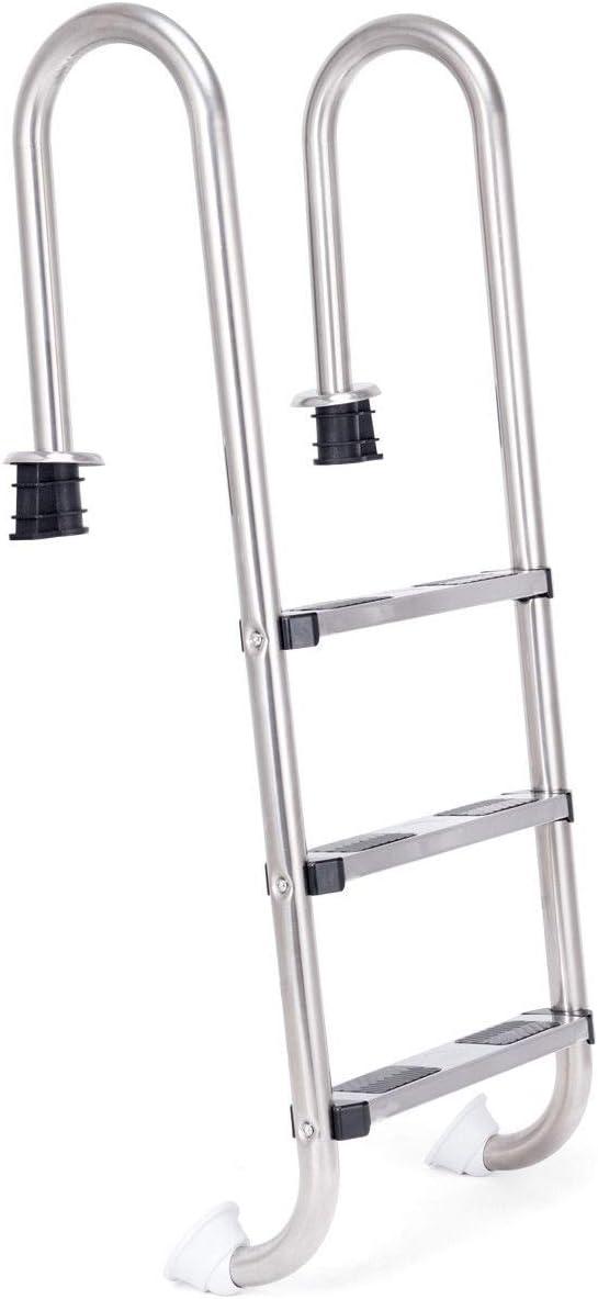 costway escalera de 3 peldaños para piscina escalera de acero inoxidable, 132 x 50 x 26 cm: Amazon.es: Jardín