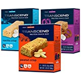 Transcend Protein Snack Bar 3-Flavor Variety Pack of 12 (4 of Each Flavor)