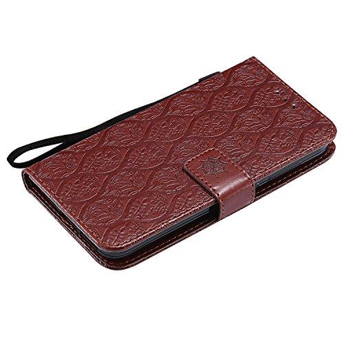 Funda Xiaomi Redmi 4X, SsHhUu Funda PU Piel Genuino Carcasa en Folio [Ranuras para Tarjetas] [Cierre Magnetico] con Acollador para Xiaomi Redmi 4X (5.0) - Púrpura Marrón