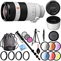 Sony FE 100-400mm f/4.5-5.6 GM OSS Full Frame E-Mount Lens (SEL100400GM) with 77mm UV, Polarizer, FLD, Close-Up, and Graduated Color Filter Sets Plus Pro Monopod and Tripod Bundle
