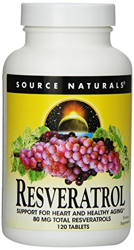 Source Naturals Resveratrol 80mg, Super Nutrient Support for Heart and Healthy Aging, 120 Tablets (Best Source Of Resveratrol)