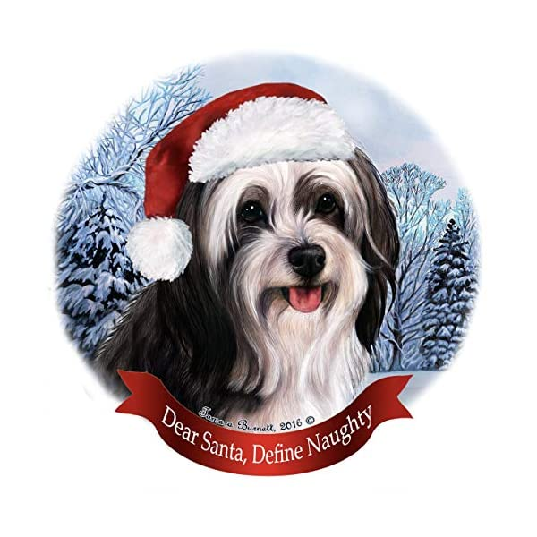 Holiday Pet Gifts Tibetan Terrier Black/White Santa Hat Dog Porcelain Ornament 1