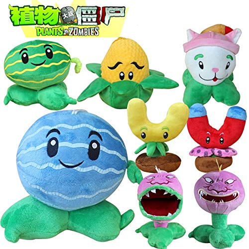 RAFGL 8Pcs/Lot PVZ Plants Vs Zombies Plants Melon Kernel Cattail Chomper Plush Toys Soft Stuffed Toys Doll for Children Kids Gifts Must Have Toys 2 Year Old Girl Gifts Boys Favourite Characters by RAFGL