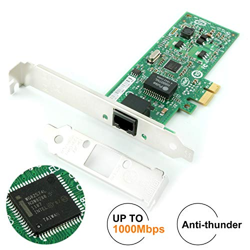 Ubit Anti-Thunder Pcie Gigabit Network Card,10/100/1000Mbps Gigabit PCI Express, PCI-E Network Adapter,RJ45 Network Interface Card,Ethernet Card with LED Indicator,Support Windows XP/7/8/8.1/10