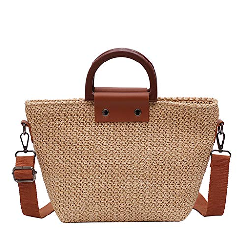 Pengy Women Vintage Straw Bag Casual Wild Vacation Simple Weave Crossbody Bag Clutch Bag Retro Totes for -