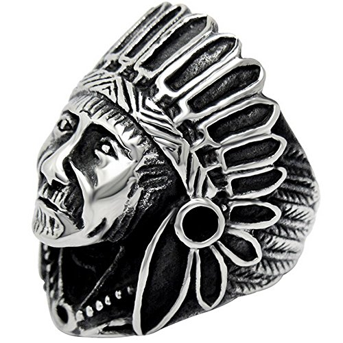 Indian Ring (LWLH Jewelry Men's Stainless Steel Vintage Native American Indian Punk Skull Black Silver Classic Ring 11)