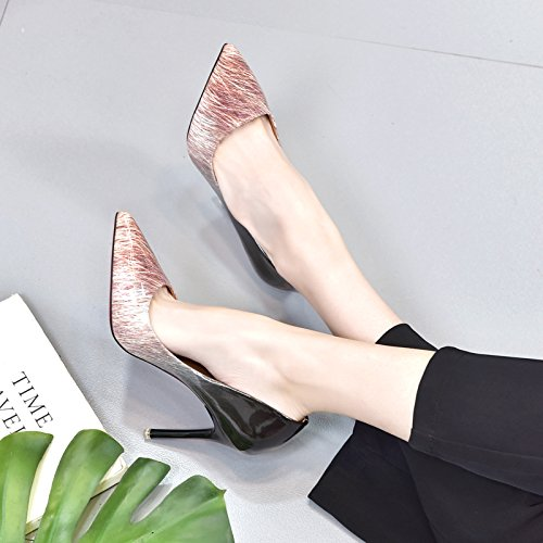 Leisure Heeled Wild Fashionable MDRW Shoes Tip Painted Europe Shoes Gradients Fine Elegant Leather In pink Followed High Work America And Spring Shoes And Women'S Lady 10Cm Sexy Single wBqYBUt