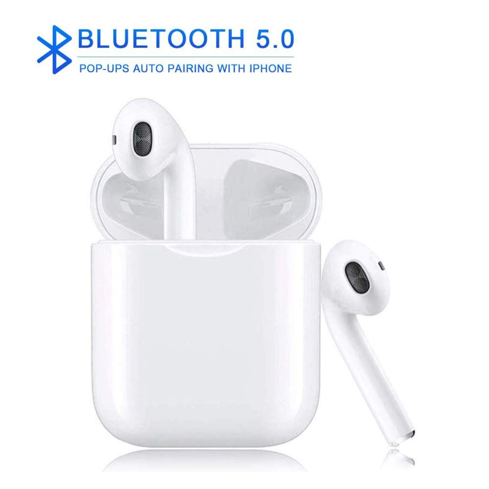 Bluetooth 5.0 Earbuds Earphones Stereo Sports Earphones Earbuds Noise Cancelling and Waterproof Headsets with Built-in Mic Portable Charging Case for Apple Airpods Android Samsung Headset White
