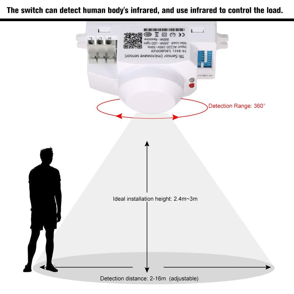 OWSOO Interruptor de Sensor de Movimiento AC220-240V Radar de Microondas Módulo de Interruptor 360 Grados: Amazon.es: Bricolaje y herramientas