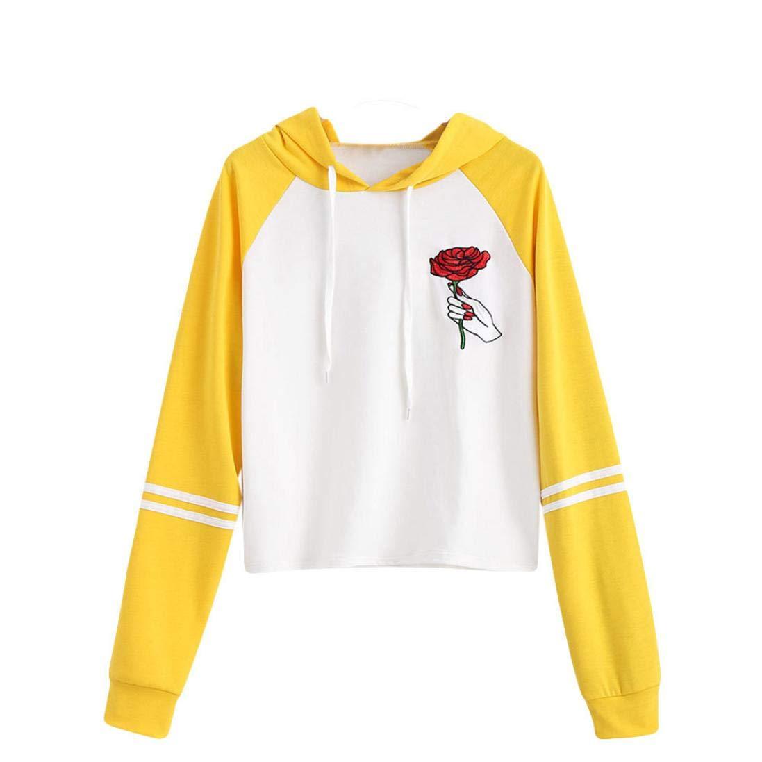 Anxinke Women Teen Girls Patchwork Embroidered Sweatshirts Long Sleeve Drawstring Hodies (S, Yellow)