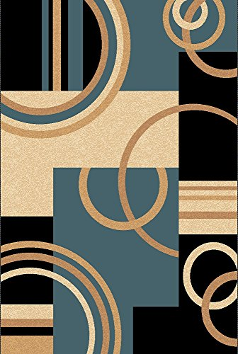 Golden Rugs Platinium Collection Hand Carved Area Rug Modern Contemporary (5'2″ X 7'5″, Black-Blue) For Sale