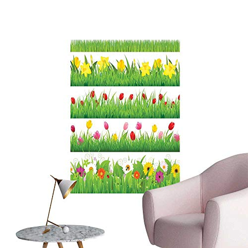 Camerofn Green Flower Art Decor 3D Wall Mural Wallpaper Stickers Lawn Pattern Horizontal Design Floral Arrangement Nature Scenes Spring Season Bedroom Bedside Wall Multicolor W16 x -