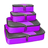G4Free Packing Cubes 4pcs Value Set for Travel,Helpful Packing Bags(Purple)