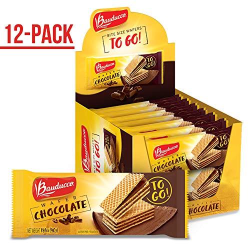 Bauducco Mini Crispy Wafer Cookies, Single Serve, Chocolate, 1.41 oz., Box of 12 (Brazilian Cookies)