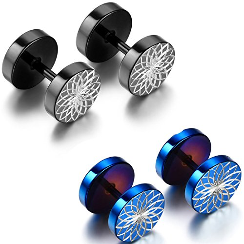 Flongo Unisex Stainless Barbell Earrings