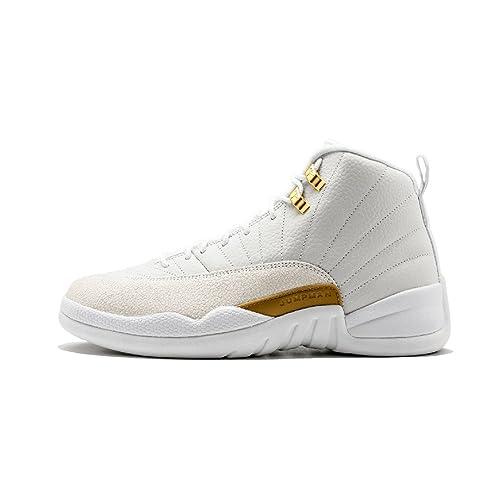 reputable site 15835 24e6a AJ 12 Retro Mens Momen White/Gold OVO White Leather ...