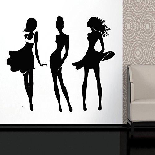 Wall Decal Window Sticker Beauty Salon Woman Face Fashion Style Clothing Boutique Dress Black Dress Model Hat t220