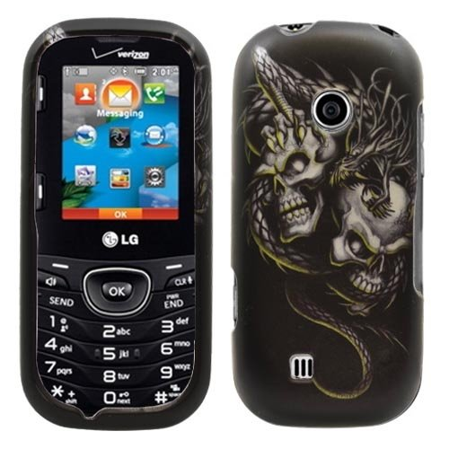 Black Dragon Skull Rubberized Snap on Hard Shell Cover Protector Faceplate Skin Case for Verizon LG Cosmos 2 VN251 + LCD Screen Guard Film + Wrist Band + Prying -