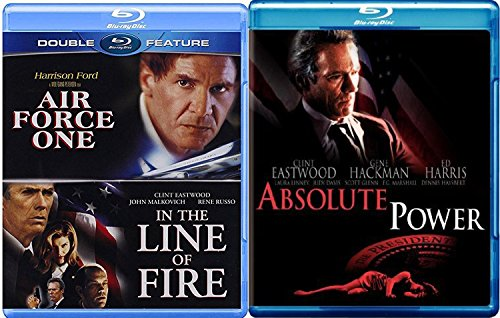 President Clint Eastwood In the Line of Fire + Harrison Ford Air Force One & Absolute Power Blu Ray Bundle Triple Pack 3 Movie Set Feature Films