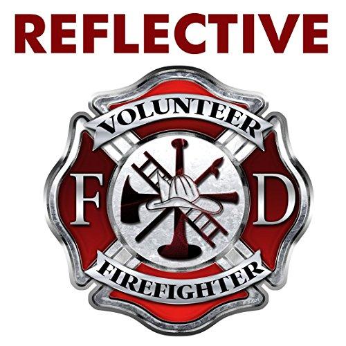 (AZ House of Graphics REFLECTIVE Firefighter Volunteer Maltese Cross Sticker -)