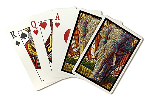African Elephant - Paper Mosaic (Playing Card Deck - 52 Card Poker Size with Jokers)
