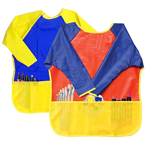 Attmu 2 Pack Kids Art Smocks, Children Waterproof Artist Painting Aprons Long (Painting Vinyl Toys)