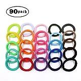 Hippih 90pcs Girls No-damage Elastic HairBand Rope Tiny Ponytail Holder Mixed Colors Headband Accessories
