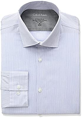Calvin Klein Men's Stretch Xtreme Slim Fit Stripe Spread Collar Dress Shirt