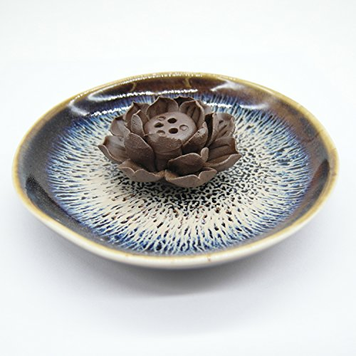 TrendBox Ceramic Handmade Artistic Incense Holder Burner Stick Coil Lotus Ash Catcher Buddhist Water Lily Plate - Three Holes Transmutation Glaze - incensecentral.us