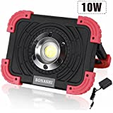 BONASHI 10W COB Rechargeable LED Work Light Cordless Heavy Duty Aluminum Body, Stationary Outdoor Floodlight Camping workshop Lamp Handheld, 1100 Lumens, Built-in Batteries with USB Port